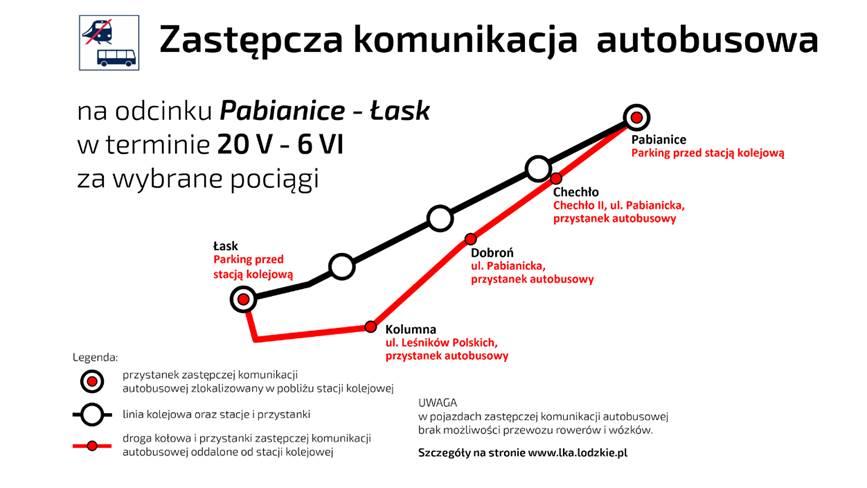 NaKolei.pl - Remont linii sieradzkiej. Odcinek Pabianice – Łask ze zmianami w ruchu pociągów