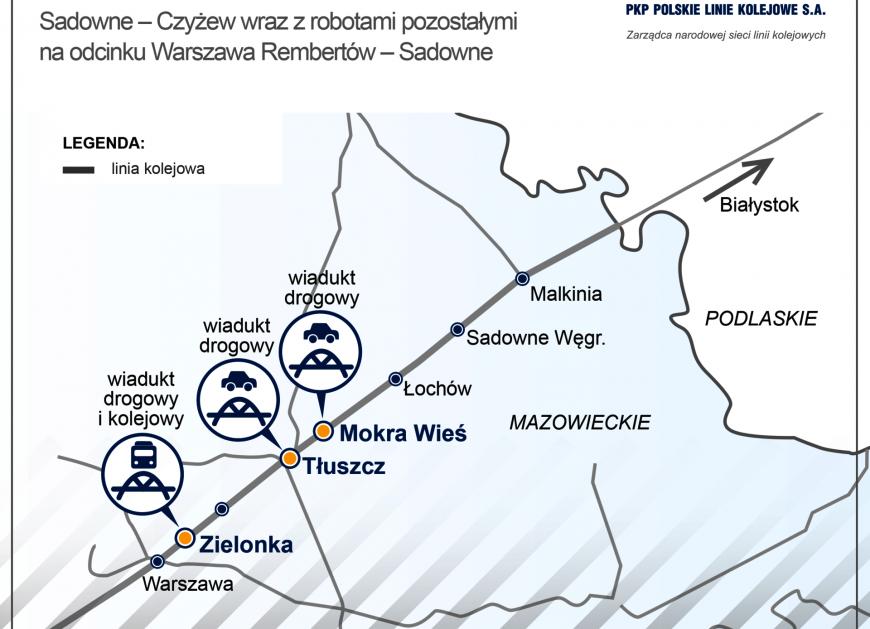 NaKolei.pl - Zielonka, Mokra Wieś, Tłuszcz - nowe wiadukty w ramach prac na linii Rail Baltica