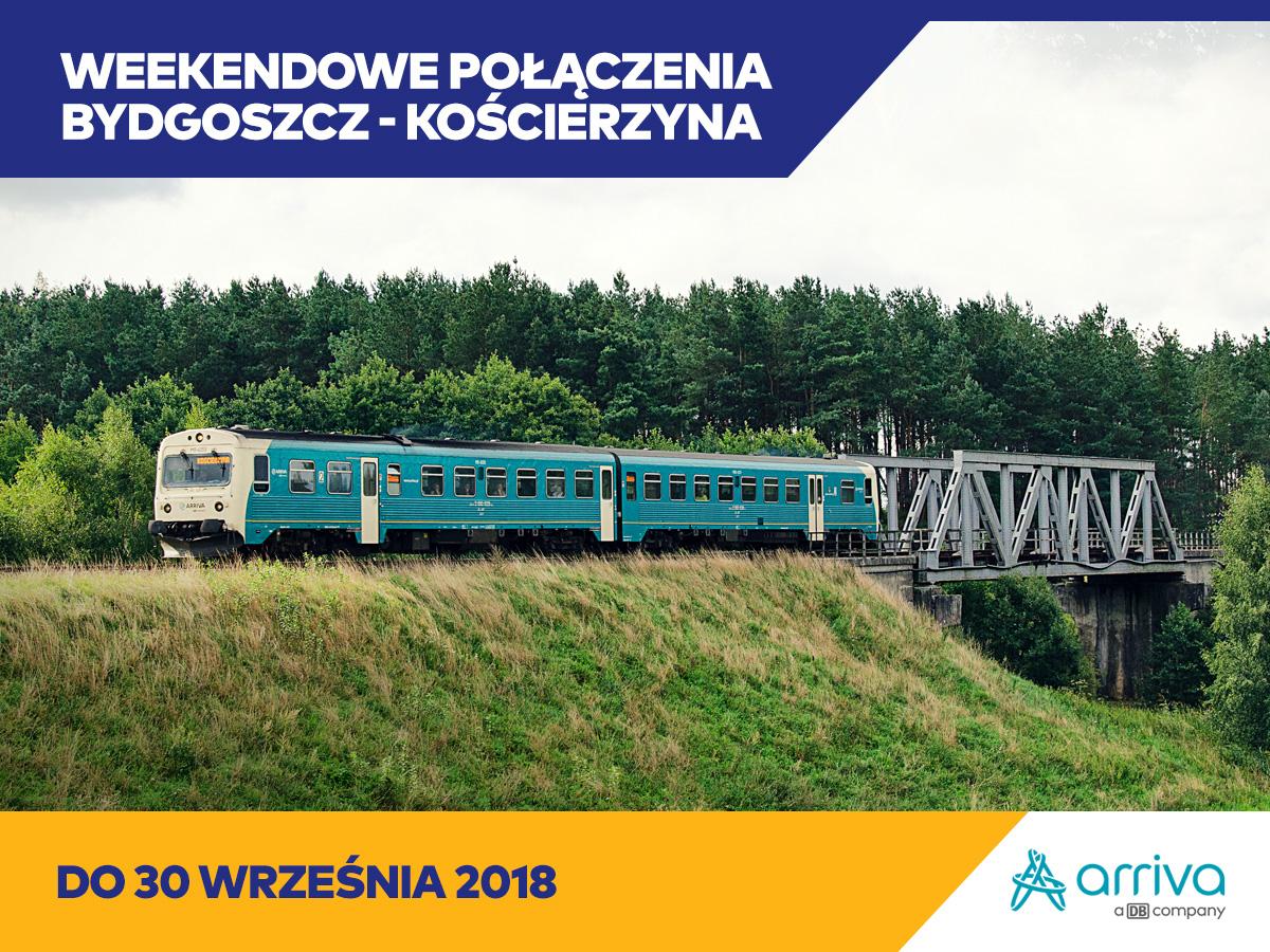 Bydgoszcz-Czersk-Kościerzyna – pociągi Arriva Polska będą jeździć do 30 września br.