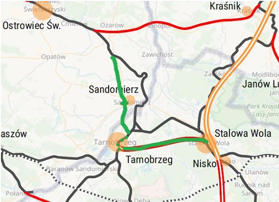 Czwórmiasto proponuje przebieg Szprychy 6 przez Tarnobrzeg i Sandomierz