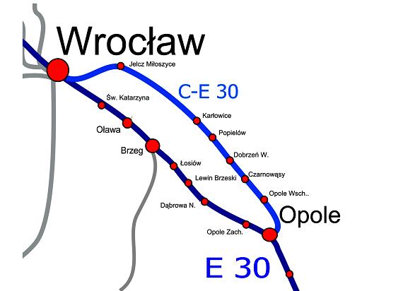 Jest umowa na projekt linii CE30 Wrocław-Opole