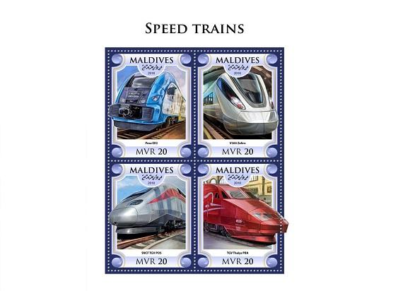 """Pesa Elf trafił na znaczki pocztowe na Malediwach. W kategorii """"szybkie pociągi"""", zaraz obok TGV"""